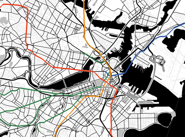Colored metro lines